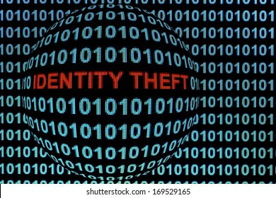 "The words ""identity theft"" in red binary code on computer monitor."