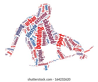 Words illustration of a boy skateboarding over white background