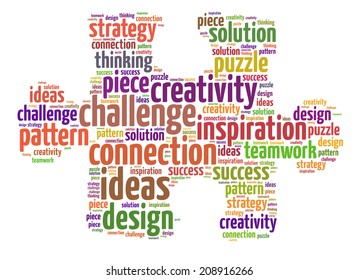 Words illustration of a jigsaw puzzle over white background