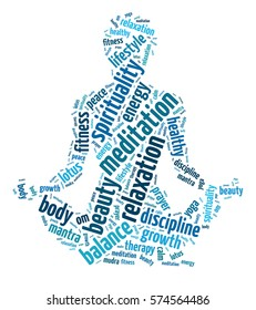 Words illustration of a person doing yoga over a white background