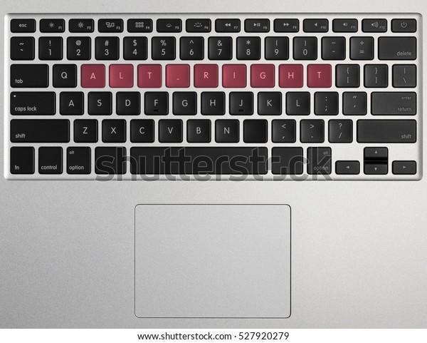 Words from the keys on modern laptop keyboard spelling Alt Right or Alt-Right