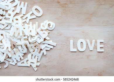 Words of love on wooden