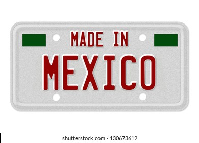 The words Made in Mexico in flag colors on a gray license plate isolated on white