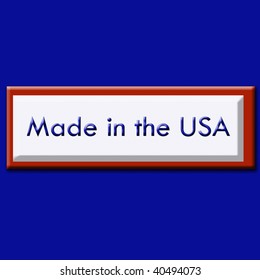 """The words, """"Made in the USA"""" on a red, white and blue style label."""