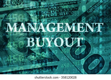 Words Management buyout  with the financial data on the background.