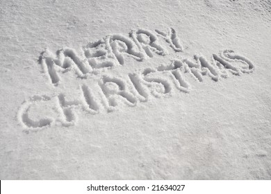 The words Merry Christmas written in the snow
