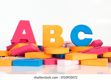 Words with multicolored letters. Word made up of multicolored letters. Abc.