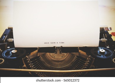 """Words """"Once upon a time"""" written with old typewriter"""
