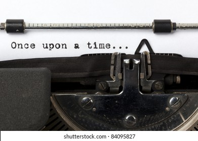 "words ""once upon a time"" written with old typewriter"