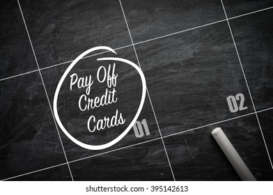 The words Pay off Credit cards and circled on a blackboard to remind you an important appointment