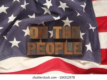the words of the people on an old American flag