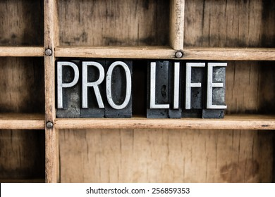 """The words """"PRO LIFE"""" written in vintage metal letterpress type in a wooden drawer with dividers."""