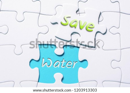 Words Save Water Missing Piece Jigsaw Stock Photo (Edit Now