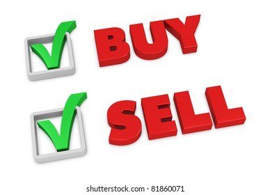 the words SELL and BUY with a check mark beside them (3d render)