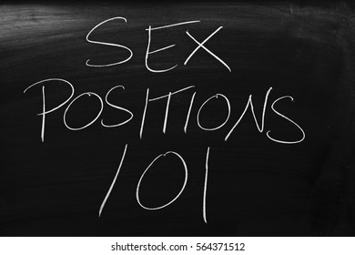 """The words """"Sex Positions 101"""" on a blackboard in chalk"""