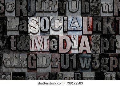 The words Social Media made from old metal letterpress letters