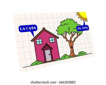 words in spanish for kids. the house and the sun.