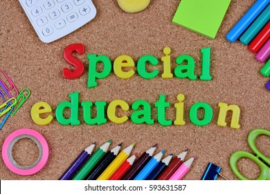 The words Special Education on cork background closeup