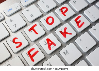 Words stop fake written on a keyboard.