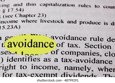 The words tax avoidance highlighted in yellow