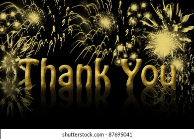 The words thank you in gold with fireworks in the background with copy space