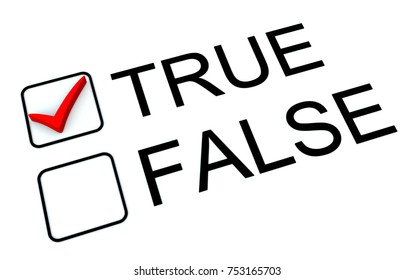 The words true and false on  check list with a tick for true.