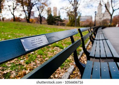 Words of wisdom engraved in a plaque on a bench in central park, New-York.