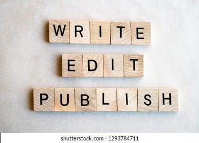 The words Write Edit Publish written in black letters on wooden blocks, flat lay. Business and education concepts