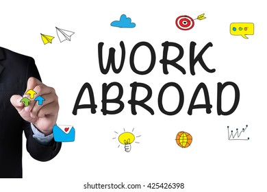 WORK ABROAD and Businessman drawing Landing Page on white background