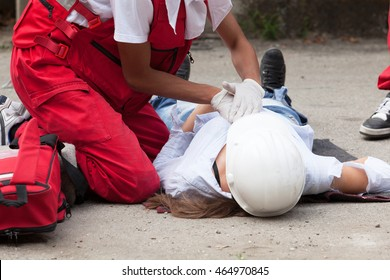 Work accident. First aid training. Cardiopulmonary resuscitation - CPR.