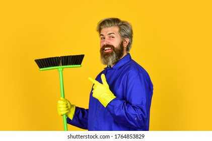work being hard. Janitor man sweeping. spring cleaning. cleaning service people. mature male worker with broom cleaning. Male Janitor clean With Broom. Man cleaning home with broom.