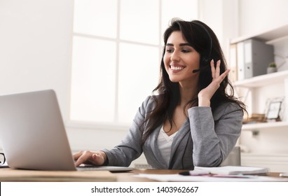 Work In Callcenter. Female Secretary With Headset Doing Customer Service