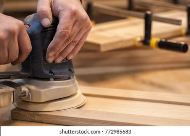 Work carpenter in the carpenter's workshop. A close-up of the tool. For woodworking