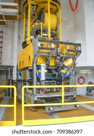 Work class ROV on deck ready for launch, to perform subsea operations