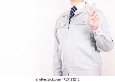 Work clothing male necktie pose peace sign