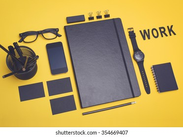 Work concept. Office items design mockup.