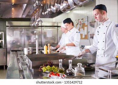 the work of the cook in the kitchen of the restaurant