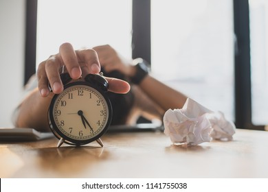 Work deadline concept : Businessman or company employee had a trouble because can't finish his work on time and trying to extend deadline.