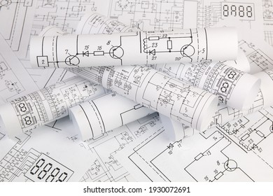 Work of an electronic engineer. Electrical engineering drawings close up.