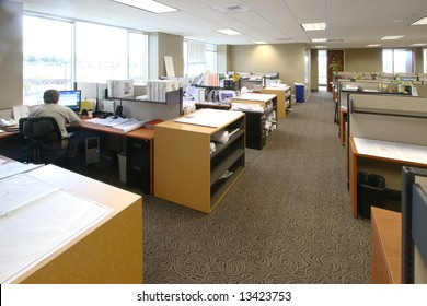 The work floor in a large corporate office of an architecture firm