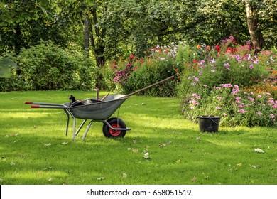 Work in the garden using wheelbarrow and  tools