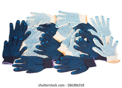 Work gloves black white cotton isolated background