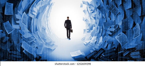 Work hard businessman finds a solution to the problem. The experienced accountant passes through cirridor of official documents, reports, instructions and laws.