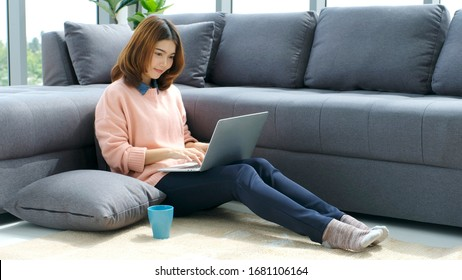 Work from home, Asian women working with laptop computer at home office, Asia female shopping online, Happy girl learning by internet, study online education, e commerce business, people technology