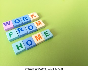 Work from  home, in colorful cubes