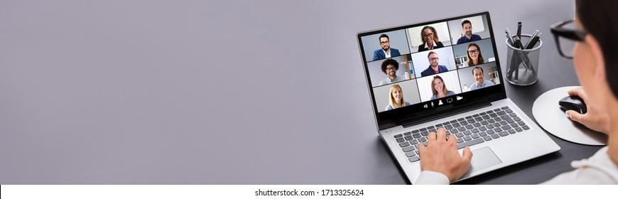 Arbeit von Home-Online-Video-Konferenz und Interview