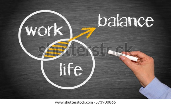 Work Life Balance - Business work-life concept chalkboard with female hand and text