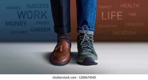 Work Life Balance Concept. Low Section of a Man Standing with Half of Working Shoes and Casual Traveling Shoes, Blurred Text on the Wall as background
