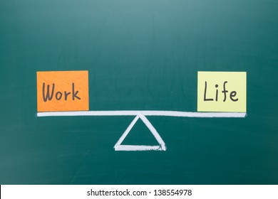 Work and life balance concept, words and drawing on blackboard