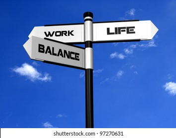 Work Life Balance Image of a signpost offering the directions to work and life, with balance between the two